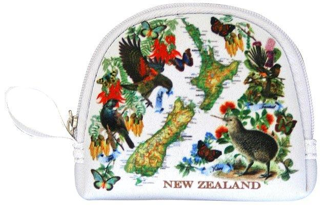 PK-00527 - Bags and Wallets Coin Bag Vintage Map - New Zealand Gifts & Souvenirs