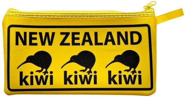 PK-00565 - Bags and Wallets Pencil Case 3 Kiwis Yellow - New Zealand Gifts & Souvenirs