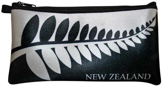 PK-00258 - Bags and Wallets Pencil Case Black White Fern - New Zealand Gifts & Souvenirs