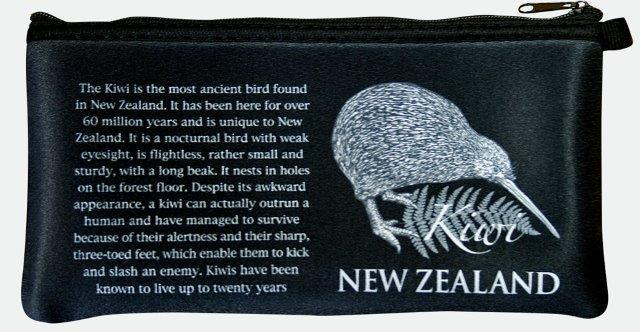 PK-00228 - Bags and Wallets Pencil Case Classic Kiwi Black - New Zealand Gifts & Souvenirs