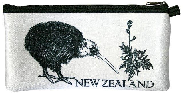 PK-00223 - Bags and Wallets Pencil Case Classic Kiwi White - New Zealand Gifts & Souvenirs