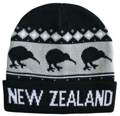 PK-60753 - Beanie Knitted Kiwis Black - New Zealand Gifts & Souvenirs