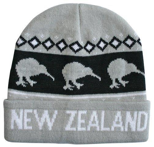 PK-60754 - Beanie Knitted Kiwis Grey - New Zealand Gifts & Souvenirs