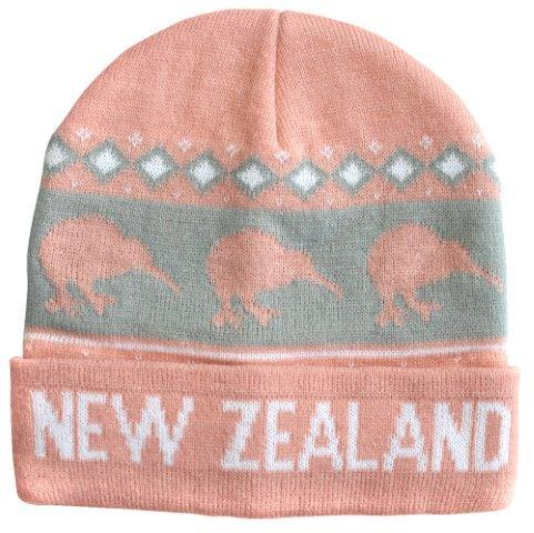 PK-60755 - Beanie Knitted Kiwis Pink - New Zealand Gifts & Souvenirs