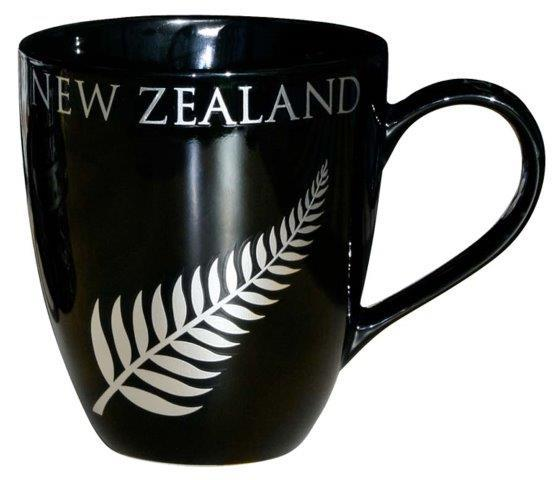 PK-10351 - Ceramics Mug 16oz Fern Black - New Zealand Gifts & Souvenirs
