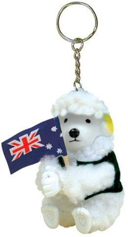PK-80317 - Clip On Sheep Vest flag With Key Chain - New Zealand Gifts & Souvenirs