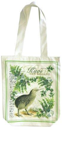 PK-00543 - Designer Cotton Bag with Zip Vintage Kiwi - New Zealand Gifts & Souvenirs