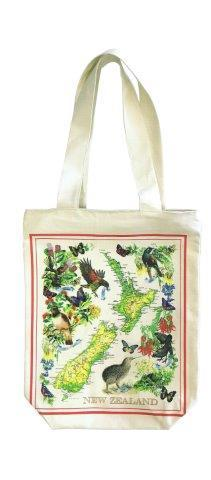PK-00544 - Designer Cotton Bag with Zip Vintage Map - New Zealand Gifts & Souvenirs