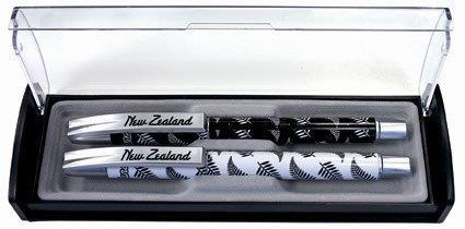 PK-40063 - Display case 2Piece Pens ferns White Black - New Zealand Gifts & Souvenirs