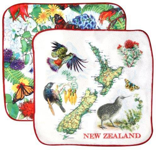 PK-65185 - Facecloth 2Pk Map Flowers - New Zealand Gifts & Souvenirs
