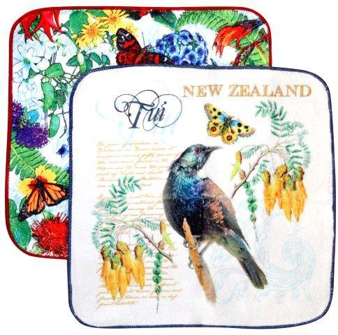 PK-65186 - Facecloth 2Pk Tui Flowers - New Zealand Gifts & Souvenirs