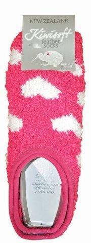 PK-55249 - Feather Socks Hearts Pink - New Zealand Gifts & Souvenirs
