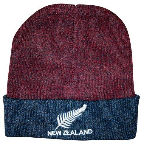 PK-60622 - Headwear Beanie Fern NZ Burgundy Blue Marl - New Zealand Gifts & Souvenirs
