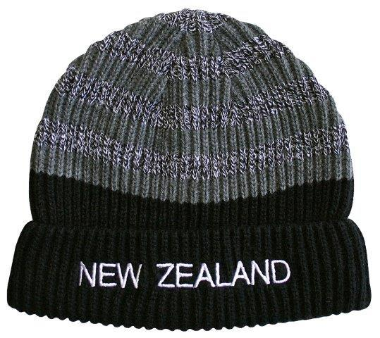 PK-60749 - Headwear Beanie Ribbed Stripes Grey Black - New Zealand Gifts & Souvenirs