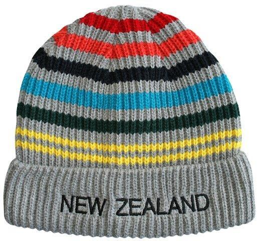 PK-60751 - Headwear Beanie Ribbed Stripes Multicolour - New Zealand Gifts & Souvenirs