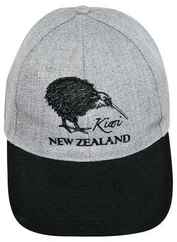 PK-60667 - Headwear Cap Kiwi Grey Black Peak - New Zealand Gifts & Souvenirs