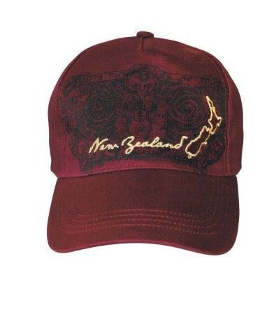 PK-60722 - Headwear Cap Tattoo Map Burgundy - New Zealand Gifts & Souvenirs