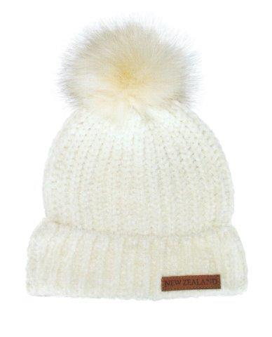 PK-60701 - Headwear Chenille Beanie Fur Pompom Cream - New Zealand Gifts & Souvenirs
