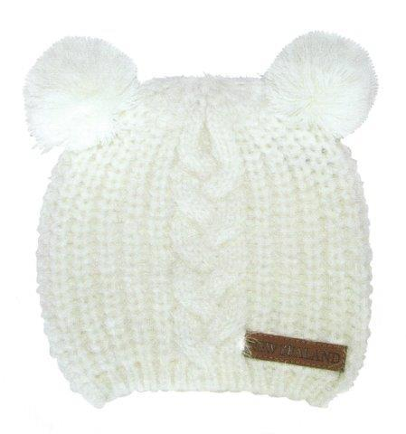 PK-60705 - Headwear Childrens Beanie Twin Pompoms Cream - New Zealand Gifts & Souvenirs