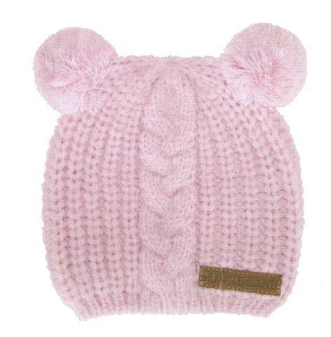 PK-60704 - Headwear Childrens Beanie Twin Pompoms Pink - New Zealand Gifts & Souvenirs