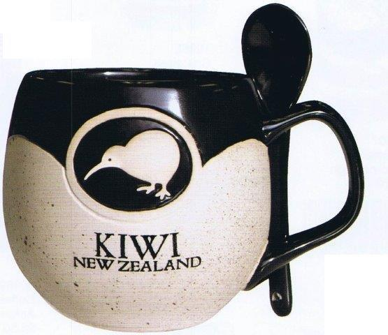 PK-10412 - Stoneware Mug with Spoon - New Zealand Gifts & Souvenirs