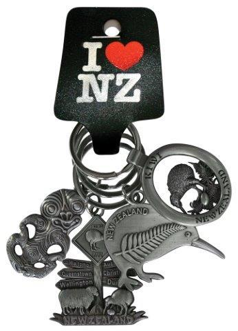PK-20637 - Keychains 4 Pack Tiki Pewter - New Zealand Gifts & Souvenirs