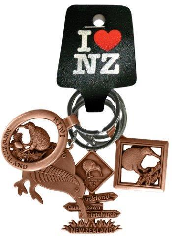 PK-20640 - Keychains 4 Pack Kiwi Diamond Copper - New Zealand Gifts & Souvenirs