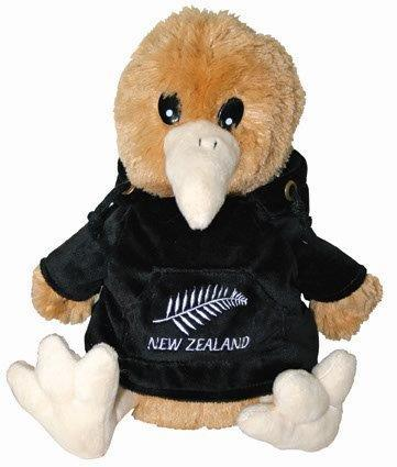 PK-30414 - Kiwi with Hoody Large Fern Black - New Zealand Gifts & Souvenirs