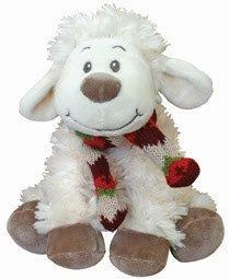 PK-30525 - Soft Toys 20cm Smiley Sheep Sitting Scarf Cream - New Zealand Gifts & Souvenirs