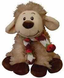 PK-30526 - Soft Toys 20cm Smiley Sheep Sitting Scarf Brown - New Zealand Gifts & Souvenirs