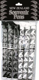 PK-40048 - Rope Pens White Black Fern Design 6Pack - New Zealand Gifts & Souvenirs