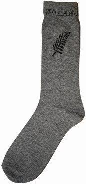 PK-55111 - Mens Socks Grey With Fern - New Zealand Gifts & Souvenirs
