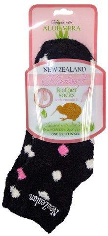 PK-55139 - Socks Aloe Vera Spots Black - New Zealand Gifts & Souvenirs