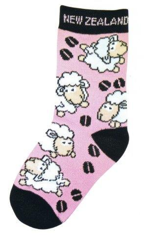 PK-55157 - Socks Childrens Sheep Black Pink - New Zealand Gifts & Souvenirs