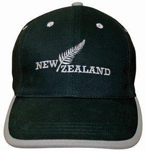 PK-60409 - Headwear-Fern-NZ-Black-Grey-Trim - New Zealand Gifts & Souvenirs