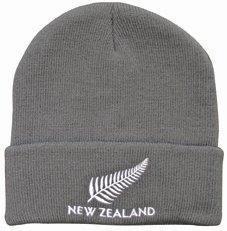 PK-60434 - Headwear-Beanie-Fern-NZ-Grey - New Zealand Gifts & Souvenirs