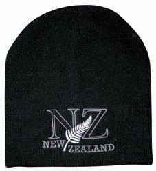 PK-60443 - Headwear-Beanie-Skull-NZ-Fern-Black - New Zealand Gifts & Souvenirs