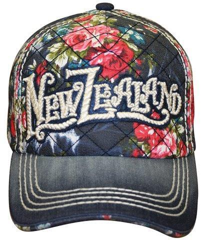 PK-60611 - Headwear Rope Stitch Floral Dark Denim - New Zealand Gifts & Souvenirs