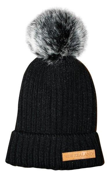 PK-60653 - Headwear Ribbed Hat Fur Pompom Black - New Zealand Gifts & Souvenirs