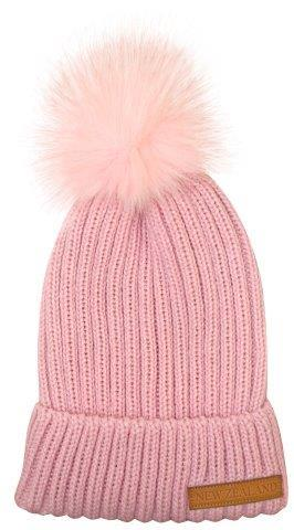 PK-60673 - Headwear Ribbed Hat Fur Pompom Pink - New Zealand Gifts & Souvenirs
