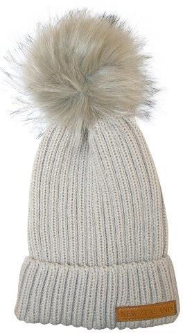 PK-60674 - Headwear Ribbed Hat Fur Pompom Grey - New Zealand Gifts & Souvenirs