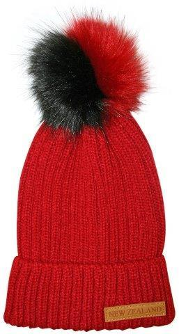 PK-60675 - Headwear Ribbed Hat Fur Pompom Red - New Zealand Gifts & Souvenirs