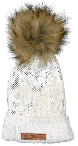 PK-60685 - Headwear Ribbed Hat Fur Pompom Sparkles White - New Zealand Gifts & Souvenirs