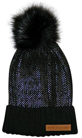 PK-60686 - Headwear Ribbed Hat Fur Pompom Sparkles Black - New Zealand Gifts & Souvenirs