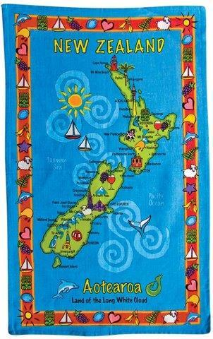 PK-65005 - Tea Towel - New Zealand Map - New Zealand Gifts & Souvenirs