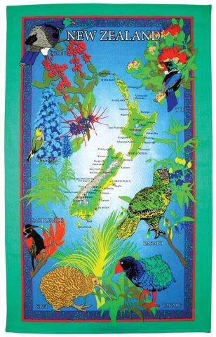 PK-65064 - Tea Towel Birds and Berries - New Zealand Gifts & Souvenirs