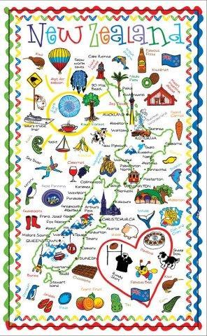 PK-65074 - Tea Towel - 1000 Icons Design - New Zealand Gifts & Souvenirs