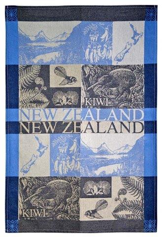 PK-65123 - TeaTowel Jacquard Scenic Beige Blues - New Zealand Gifts & Souvenirs