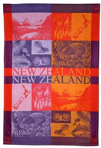 PK-65125 - TeaTowel Jacquard Scenic Red Golds - New Zealand Gifts & Souvenirs