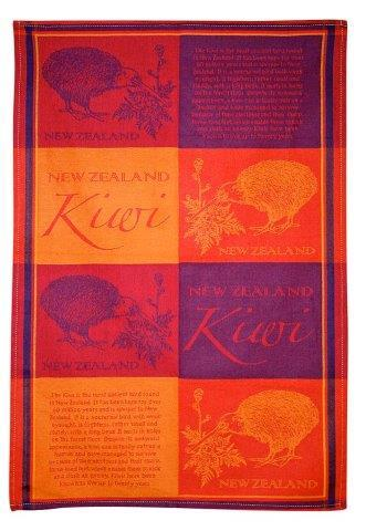 PK-65128 - TeaTowel Jacquard NZ Kiwi Red Orange - New Zealand Gifts & Souvenirs